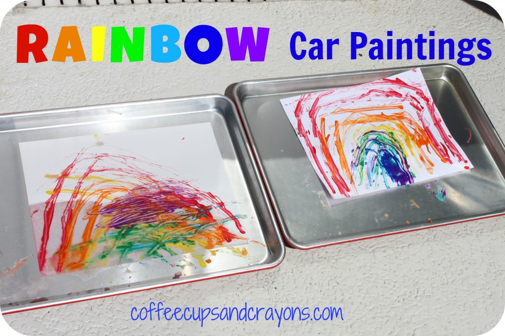 Rainbow Car Paintings!  A fun way to paint and learn with cars!