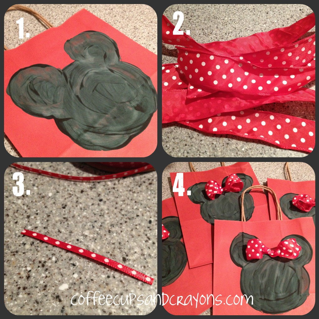 Minnie And Mickey Favor Bags And Mouse Ears Coffee Cups