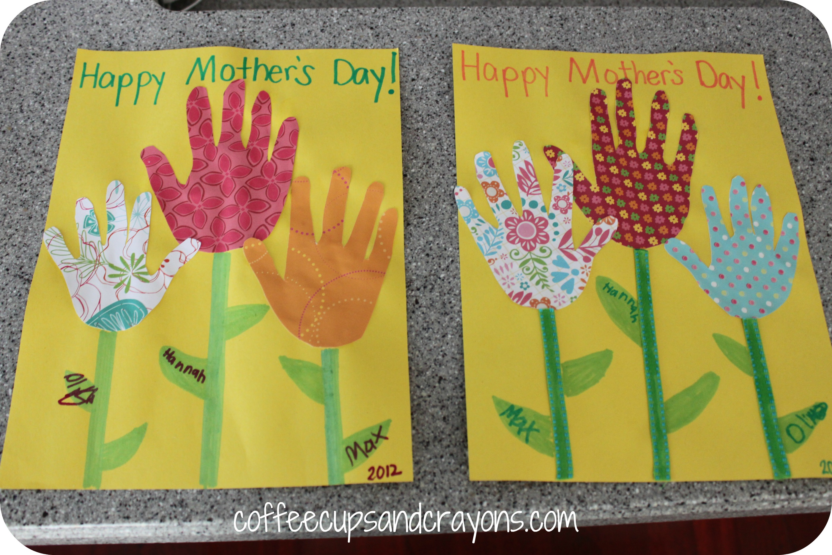 Mothers Day Card And A Money Flower Coffee Cups And Crayons