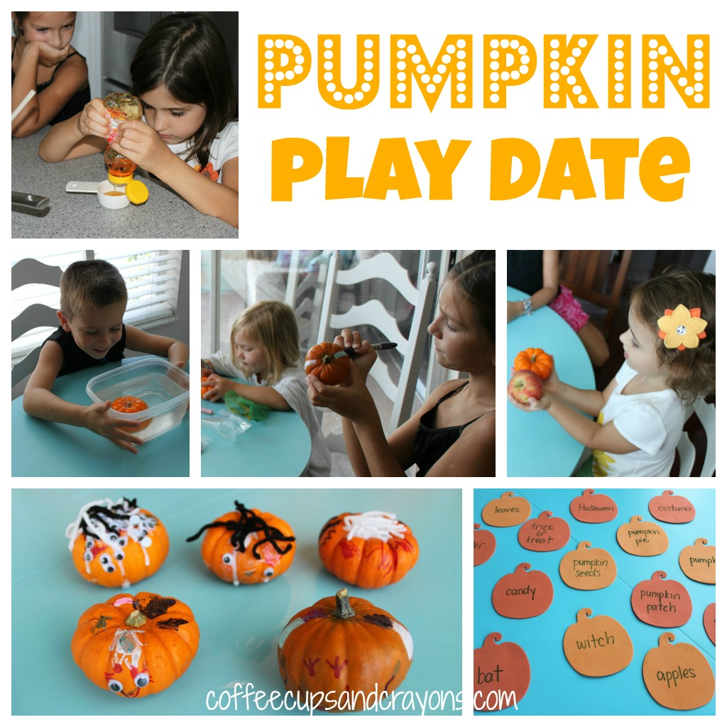 Fun pumpkin themed play date ideas--pumpkin activities, crafts and learning ideas for fall fun!