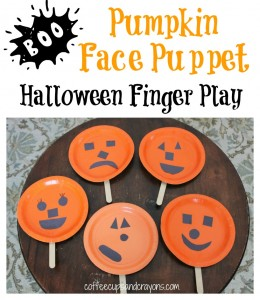 Pumpkin Face Finger Play and Puppet for Halloween