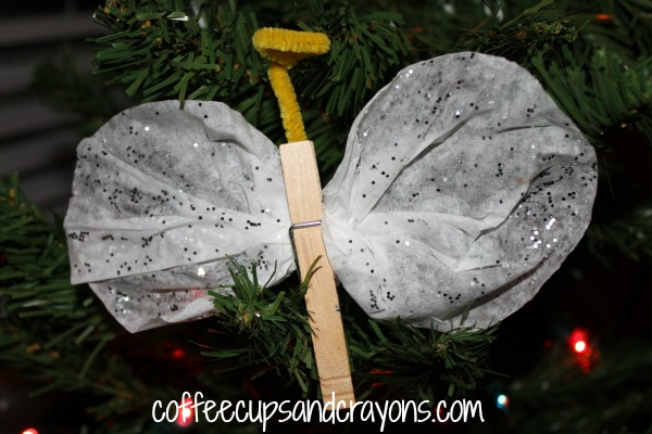 Easy Kids Craft: Coffee Filter Angel Christmas Ornament