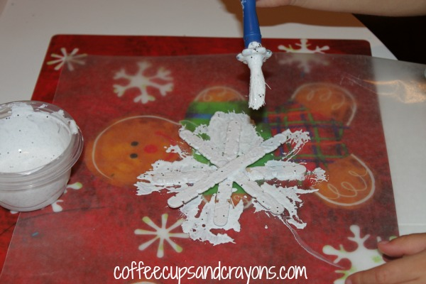 Painted Craft Stick Snowflake Ornaments