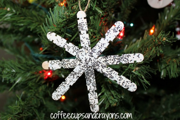 easy kids ornament craft stick snowflakes - Snowflake Christmas Decorations