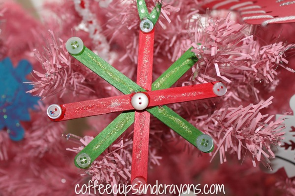 Easy Kids Craft Stick And Button Snowflake Ornaments
