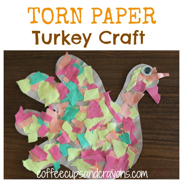 Thanksgiving Kids Craft: Torn Paper Turkeys