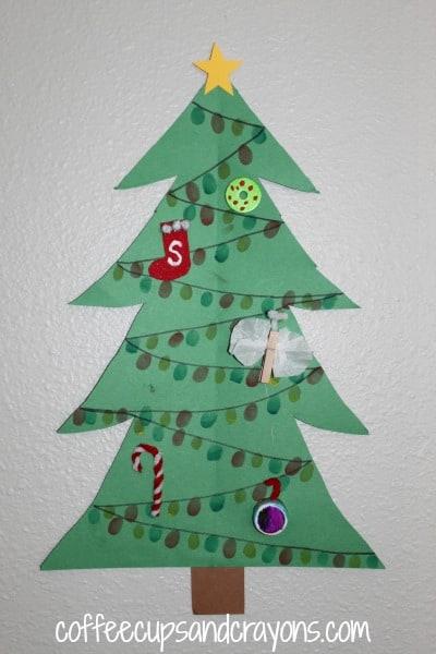 How to Make Finger Print Christmas Tree Lights