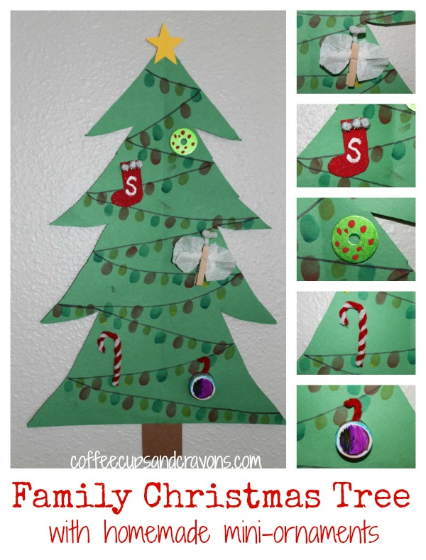 christmas crafts for kids family tree with mini ornaments