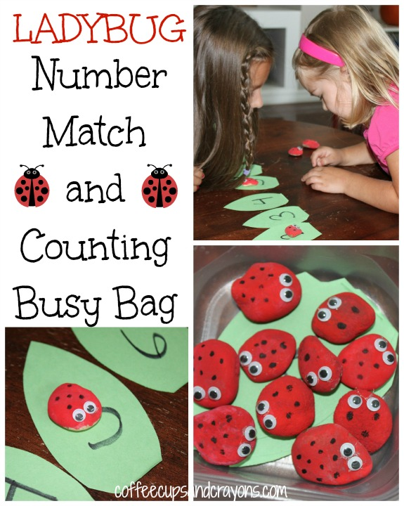 Busy Bag Activities for Preschoolers: Ladybug Number Match and and Counting Math Game
