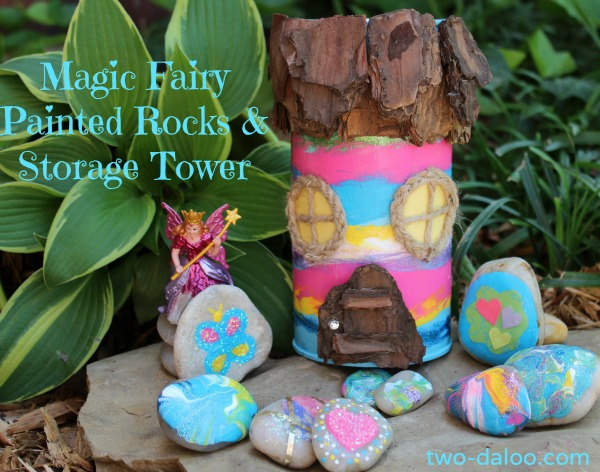 Magic Fairy Painted Rock and Storage Tower