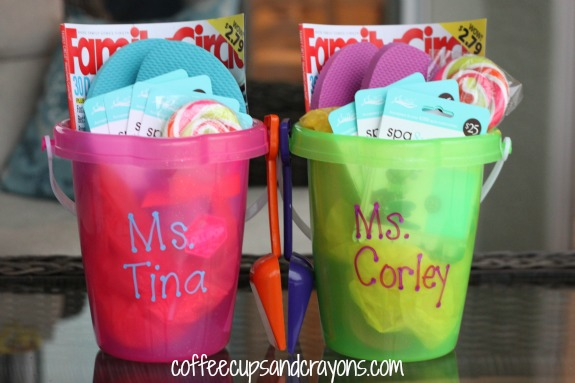 teacher appreciation gift summer relaxation bucket coffee cups
