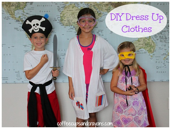 DIY Dress Up Clothes--Make a pirate, scientist, and super hero costumes! No sewing required!