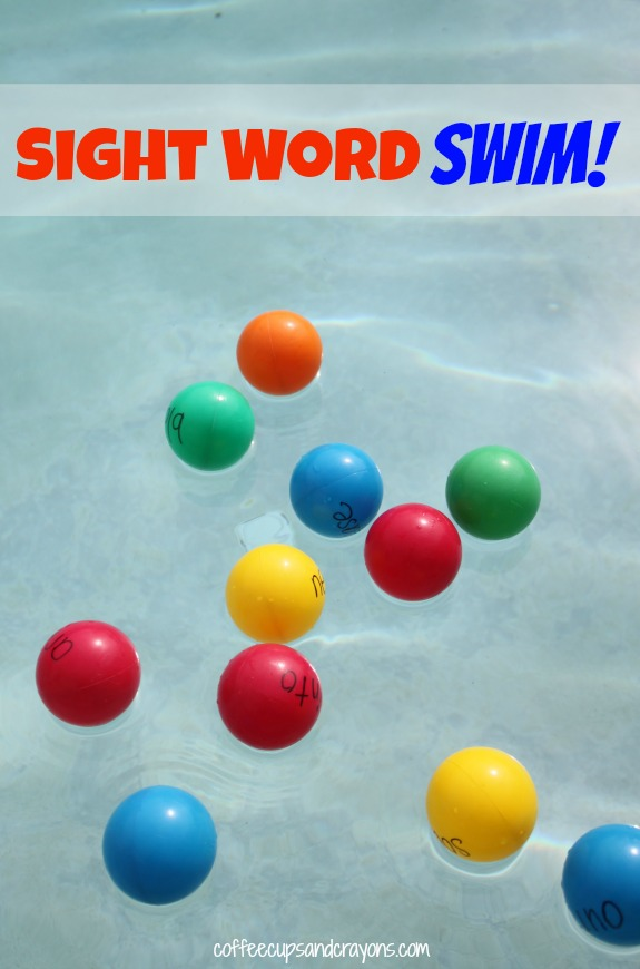 Sight Word Swim!  An active way to let kids have fun while practicing sight words.