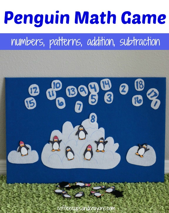 DIY Penguin Math Game! Free printable and ways to play in the post!