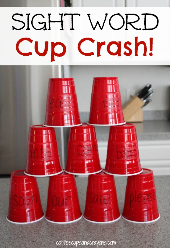 Gross Motor Sight Word Game Cup Crash