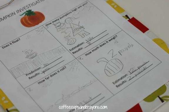 Pumpkin Investigations Science Activity Worksheet