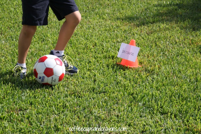 Sight Word Soccer Activity!  Get kids moving and learning their sight words or spelling words while they play a fun soccer game!