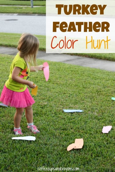 Turkey Feather Color Hunt and Math Pattern Activity for Kids!