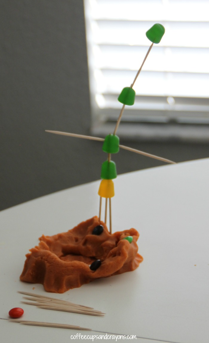 Use leftover candy for play dough sculptures!
