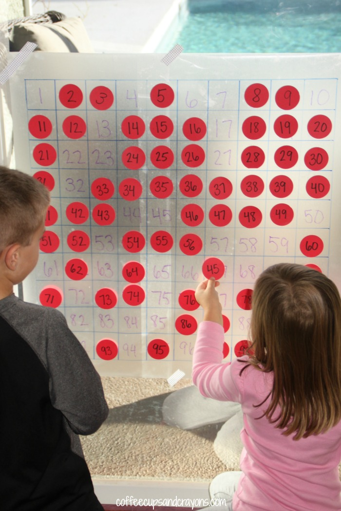Big Sticky Hundreds Chart! Fun math practice for both preschoolers and big kids!