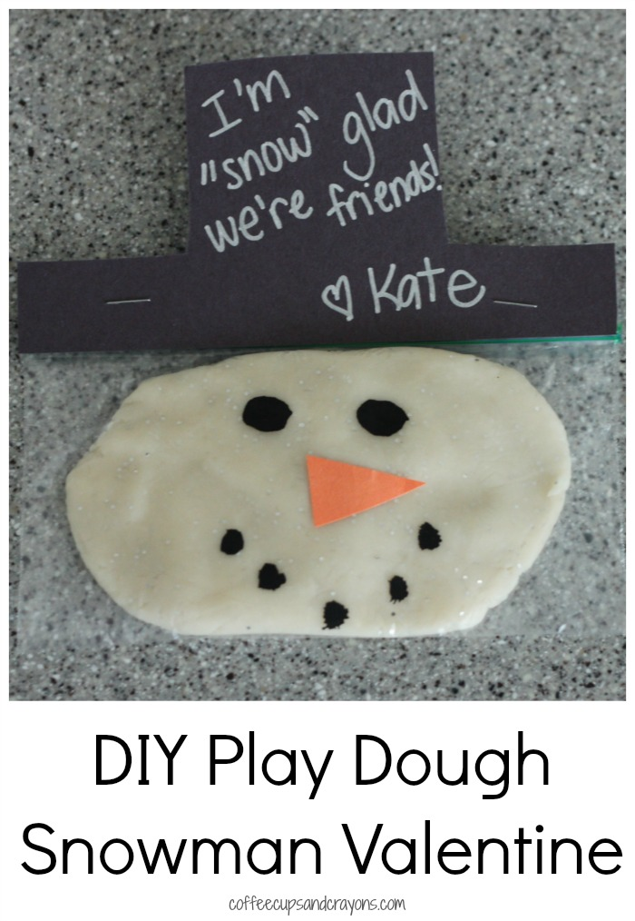 DIY Valentine for Kids--Snowman Play Dough Bags!