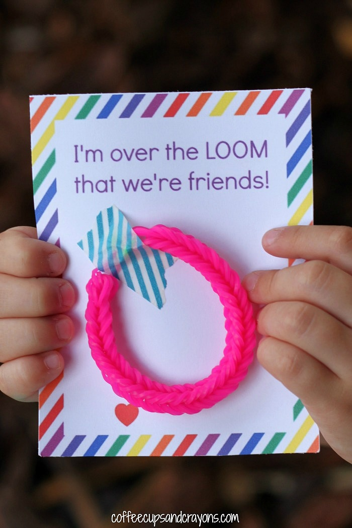 Free Printable Rainbow Loom Valentines for Kids