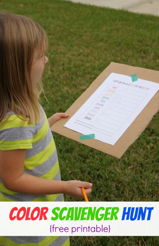 Color Scavenger Hunt for Kids--with free printable!!!