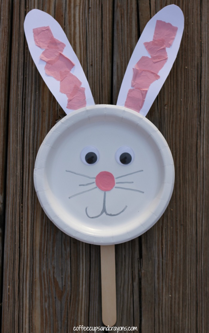easy paper bunny craft bunny paper plate puppet craft coffee cups and crayons 4371