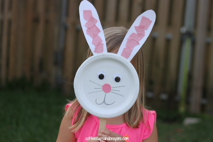 Cute Bunny Craft for Preschool Kids! The paper plate ... & Bunny Paper Plate Puppet Craft | Coffee Cups and Crayons