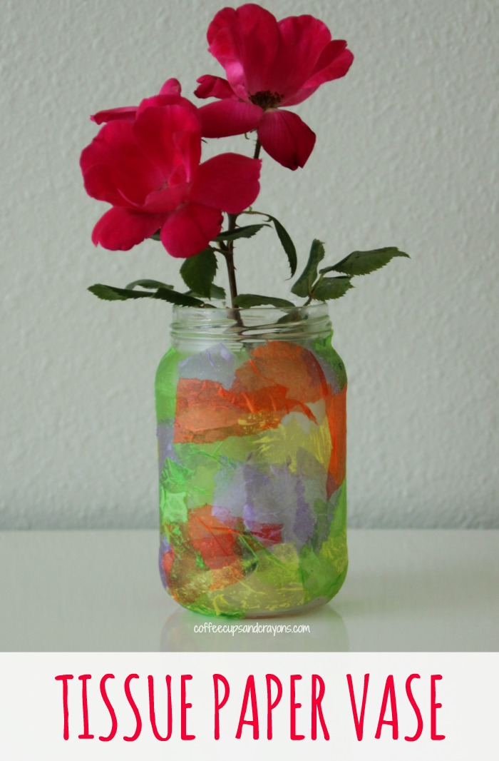 Homemade tissue paper vase craft coffee cups and crayons diy tissue paper vase craft fun homemade gift for mothers day or teacher appreciation week mightylinksfo