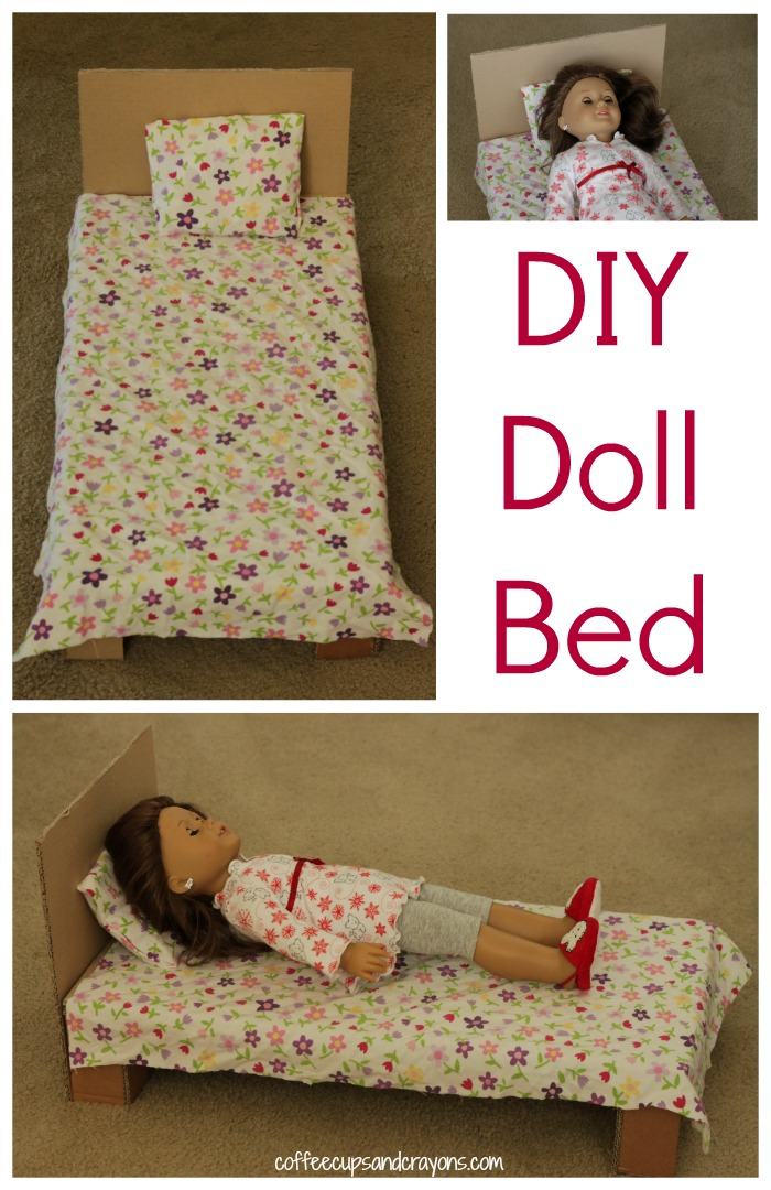 Diy american girl doll bed coffee cups and crayons for Simple bed diy