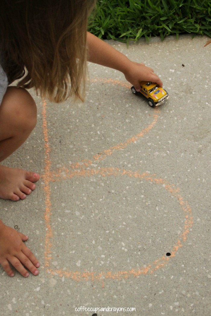 Tracing Chalk Letters with Cars!