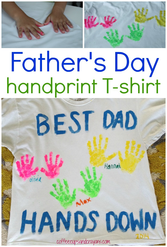 Diy Father S Day Handprint Shirt Coffee Cups And Crayons