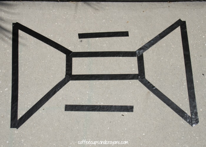 Sidewalk Chalk Paint Tape Resist Activity!