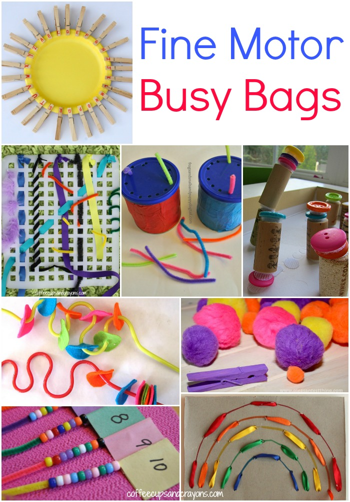 Fine Motor Busy Bags For Kids Coffee Cups And Crayons