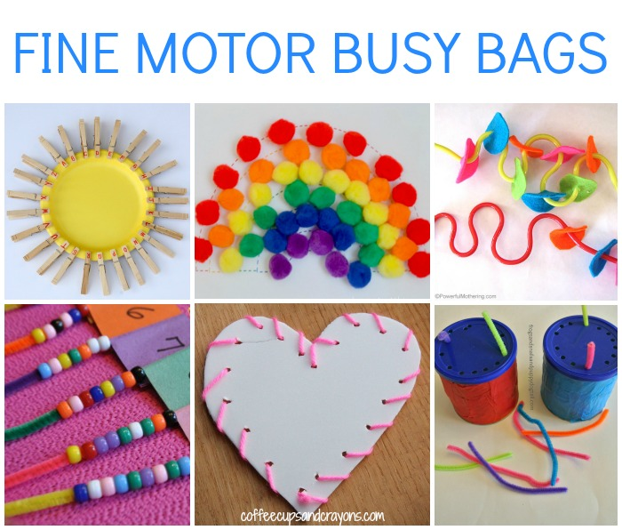Fine motor busy bags for kids coffee cups and crayons for Fine motor activities preschool