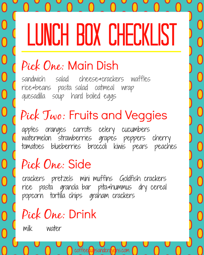 Free Printable Lunch Box Packing Checklist (with choices)
