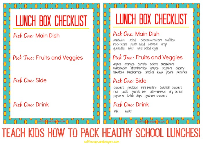 Printable Lunch Box Checklists to Teach Kids to Pack Healthy School Lunches!