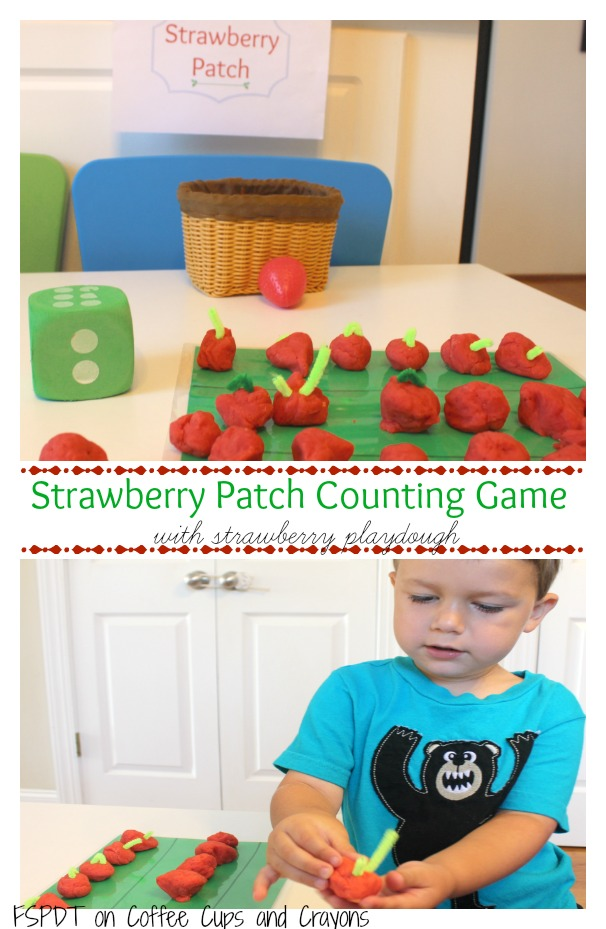 Strawberry Playdough Math Counting Games for Kids