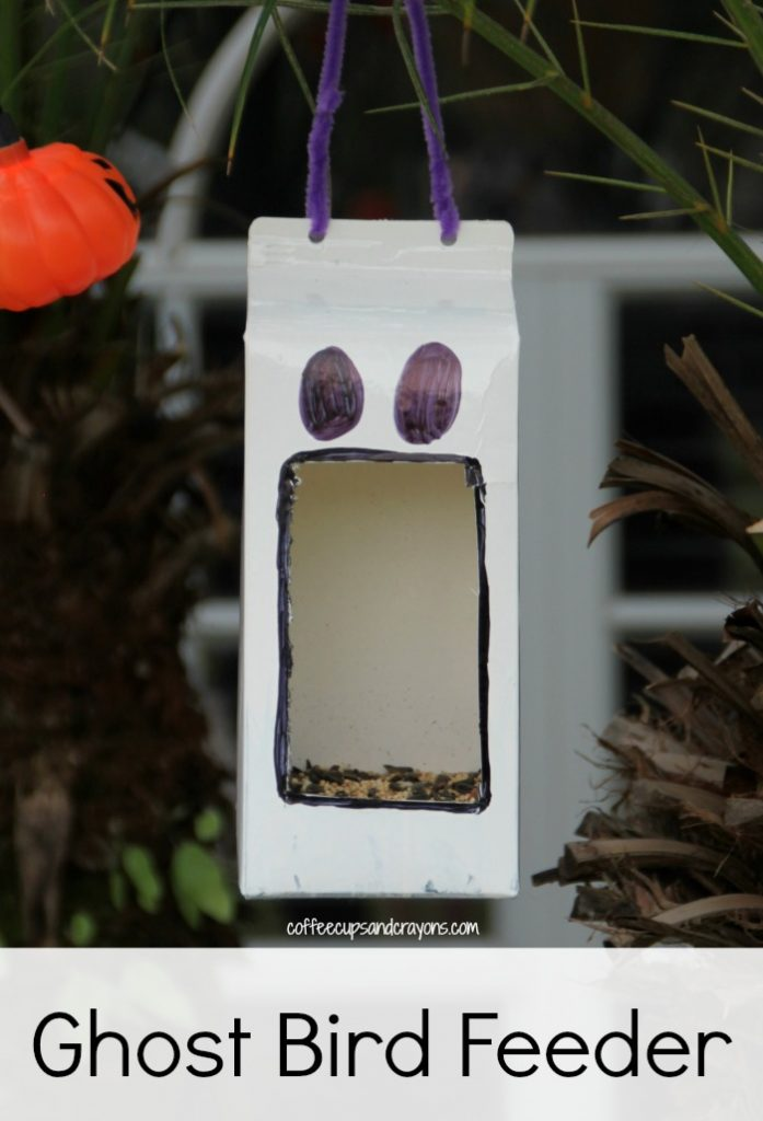 Ghost Bird Feeder Craft for Kids! Perfect for Halloween!