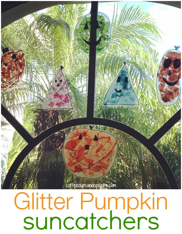 Glitter Pumpkin Sun Catchers! Simple Halloween Kids Craft to go with the story Spookley the Square Pumpkin!
