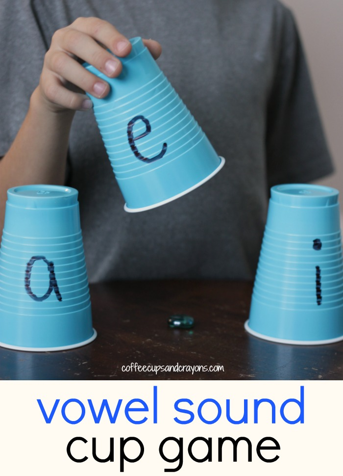 Practice tricky vowel sounds with this fun cup guessing game!