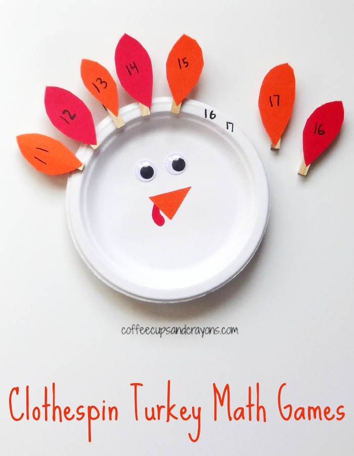 Clothespin Turkey Math Games for Kids! Would make a great fine motor and math busy bag!
