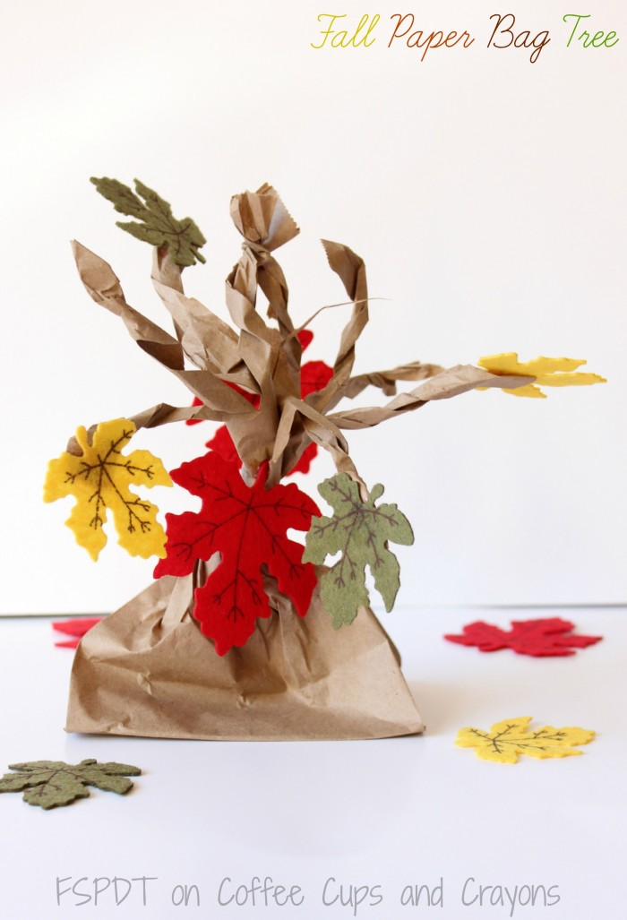 Fall Paper Bag Tree Coffee Cups And Crayons