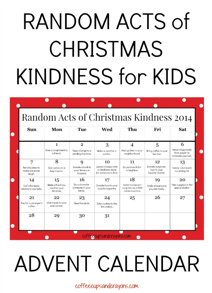 picture about Printable Christmas Calendar identified as Random Functions of Xmas Kindness Printable Arrival Calendar