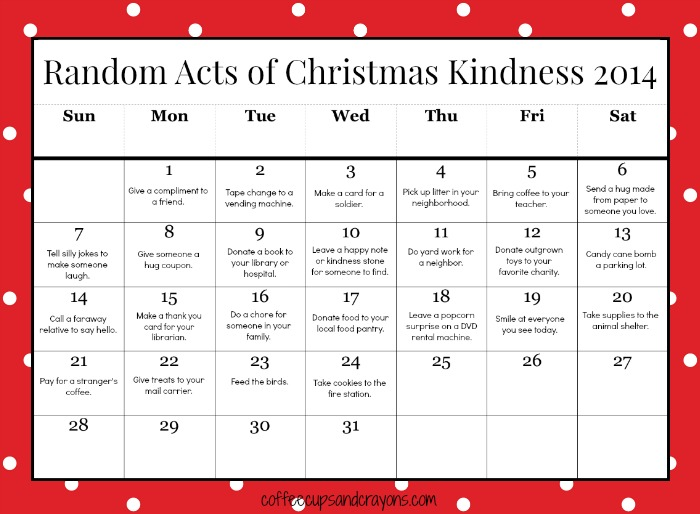 Random Acts Of Christmas Kindness Printable Advent Calendar