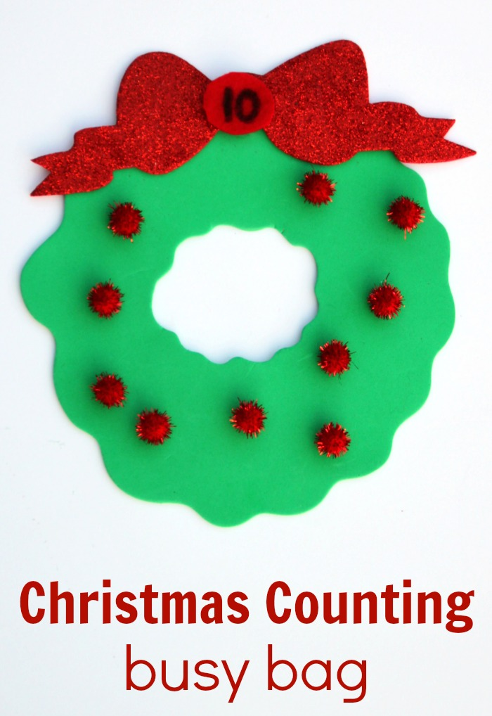Preschool Christmas Counting Busy Bag for Kids!