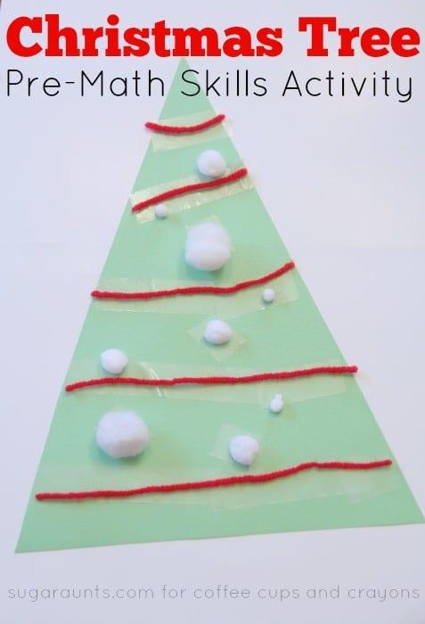 Pre-Math Christmas Tree Activity for Preschool