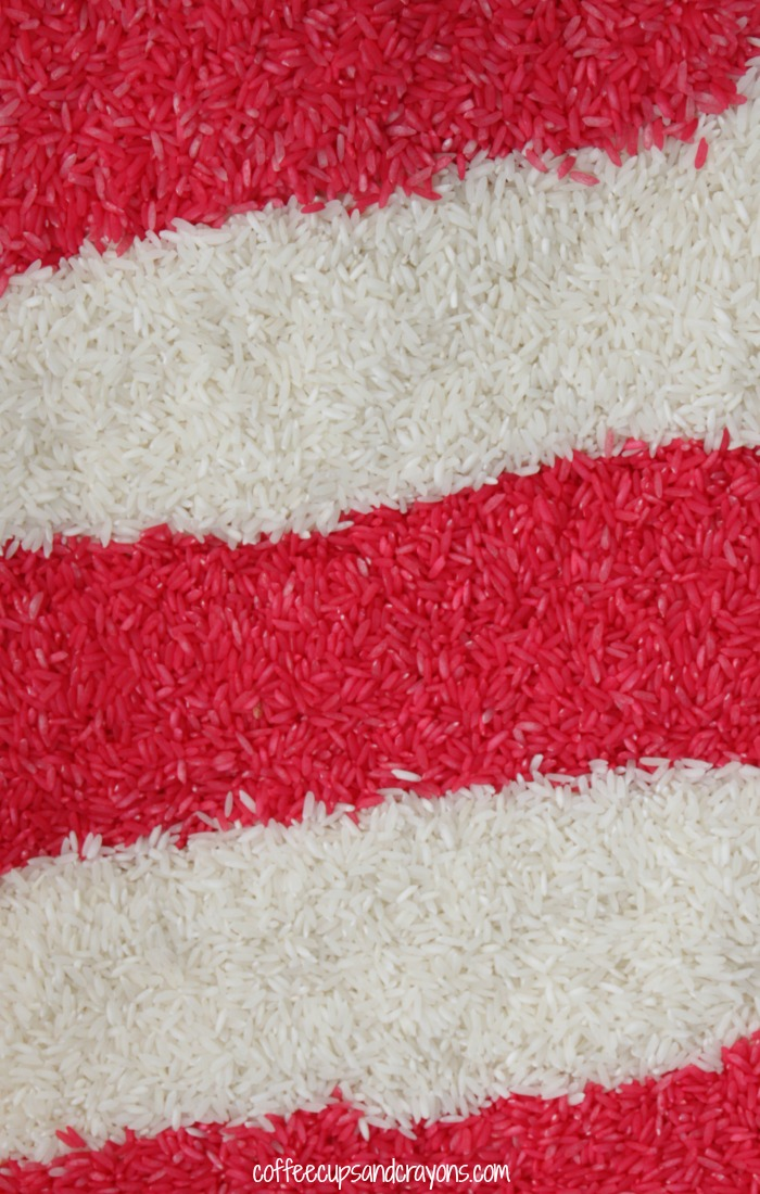 Candy Cane Rice! A simple sensory material for kids that smells AMAZING!