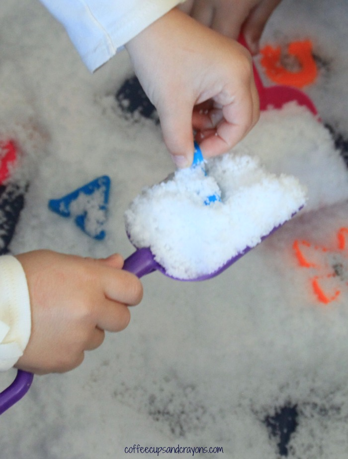 Grab your shovels and dig for letters in pretend snow! Preschool kids will love to learn the ABCs like this!